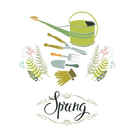 rubber glove: Spring gardening design card with gardening tools