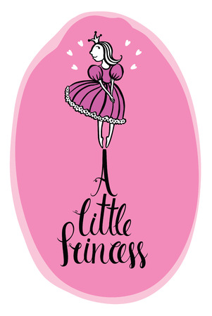 little princess: A little princess Design card in pink colors with hearts Illustration