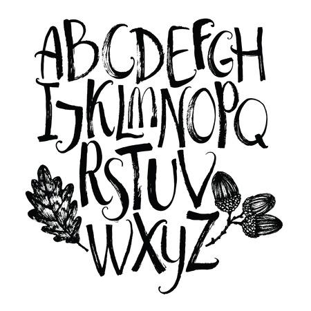 alfabet met eikenblad en eikels borstel kalligrafie Stock Illustratie