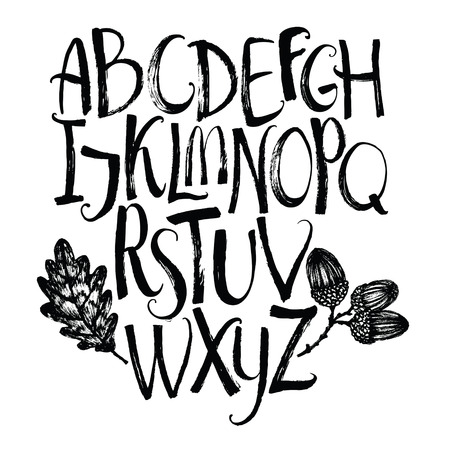 black grunge background: alphabet with oak leaf and acorns Brush calligraphy