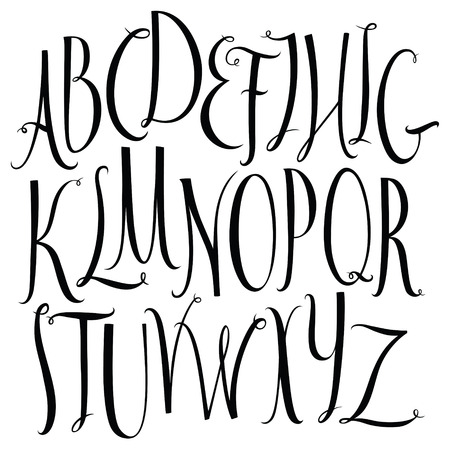 Set of calligraphic style font alphabet Vector