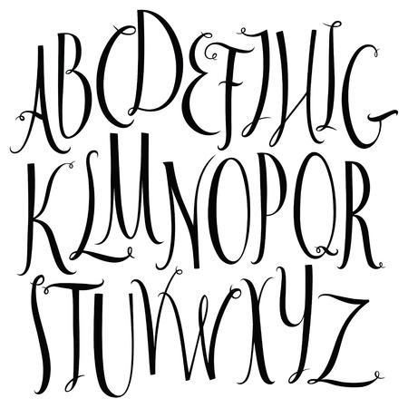 expressive style: Set of calligraphic style font alphabet Illustration