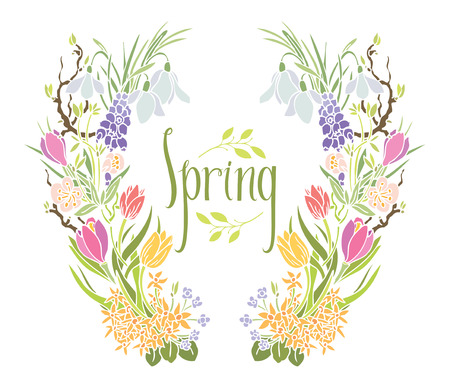 Spring Frame of flowers and leaves Design card with tulips, snowdrops and muscari Vector