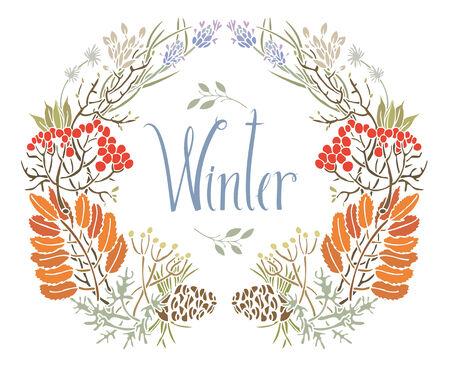 Vogelbeere: Winter-Rahmen der Eberesche und Zweige der Entwurfskarte mit Vogel
