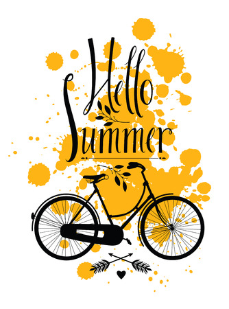 Hello Summer Design card with bike on yellow background Vector