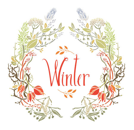 Winter Frame of leaves and twigs Design card with birch catkins Vector