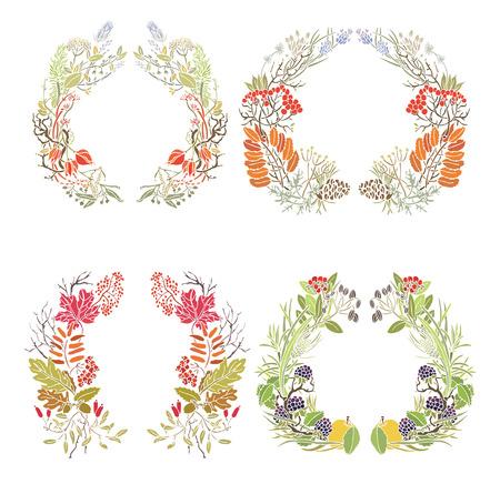 oak wreath: Four autumn frames Leaves, apples and twigs Illustration