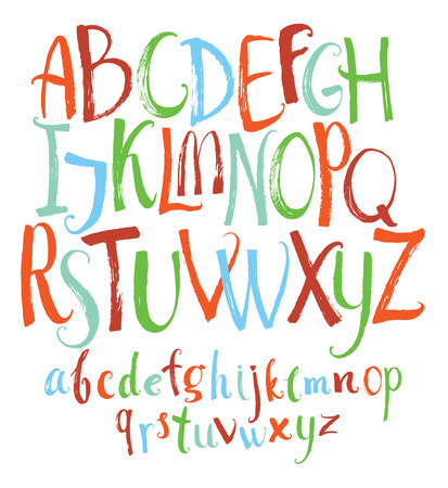 Set of Colorful Vector alphabet Handwritten calligraphy Ilustração