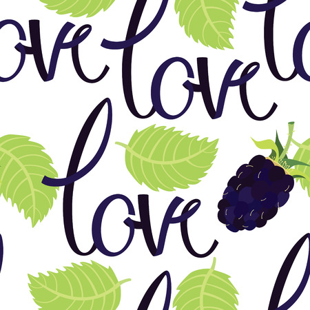 blackberry: Romantic love background with lettering and blackberry