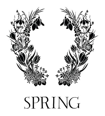 snowdrops: Spring Design card with snowdrops Black and white