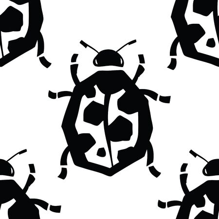 ladybird: Ladybird Vector pattern Black and white colors