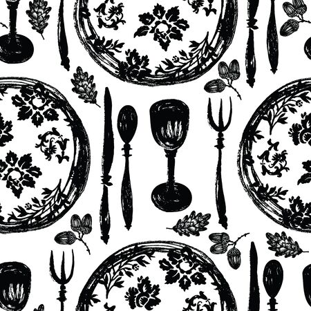 The beautiful tableware, the plates with patterns, table setting, fork, spoon, knife, goblet, oak leaves and acorn