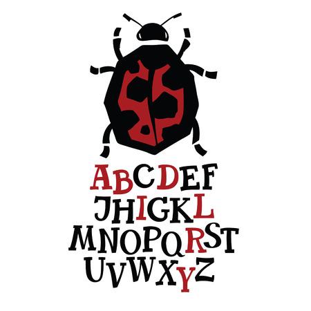 ladybird: Ladybird font Alphabet with Ladybird icon