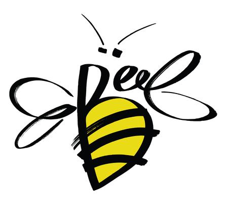 calligraphic design: Bee Colored calligraphic design card Skech style