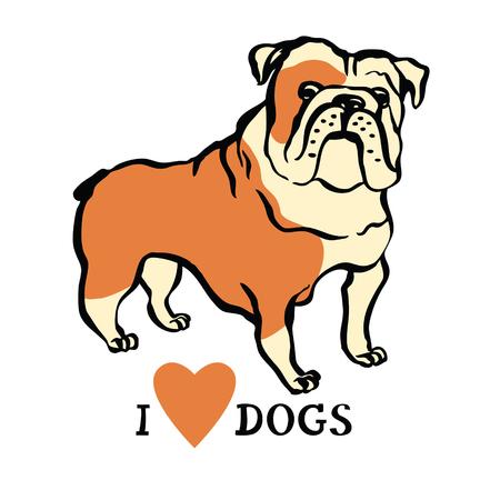 Me encanta el diseño con perros bulldog Objeto aislado Ilustración de vector