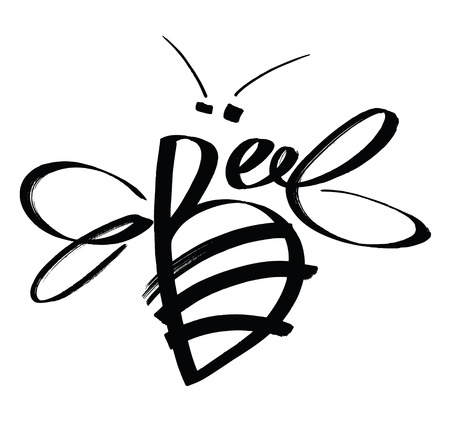 Bee Calligraphy design card Sketch style