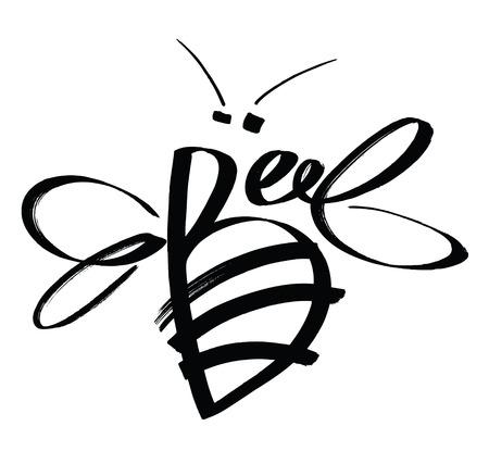 abeja: Boceto de estilo tarjeta de diseño de la abeja de la caligrafía Vectores
