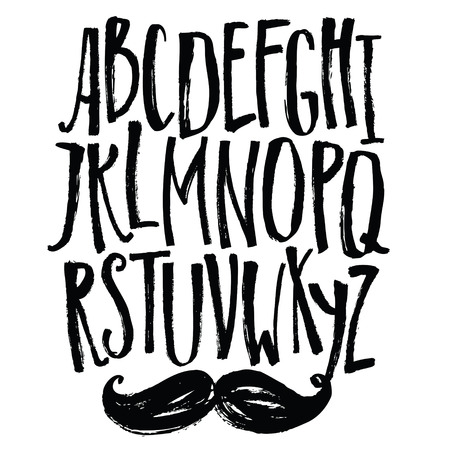 font: Narrow font Vector alphabet with mustache