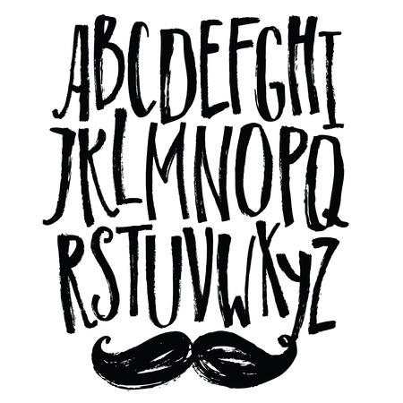 Narrow lettertype Vector alfabet met snor