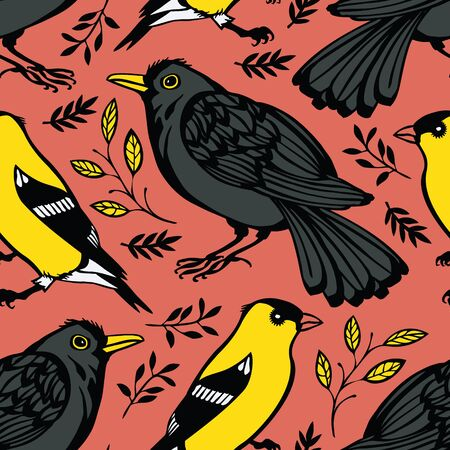 wade: Blackbird and Goldfinch Pink background Illustration