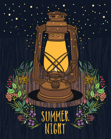 old vintage: Summer Night Sky Vintage lamp with night-fly Wood background