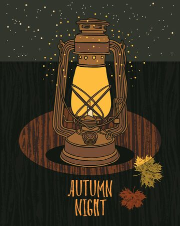 autumn background: Autumn Night Sky Vintage lamp with night-fly Wood background