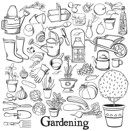 Gardening line icon Drawing doodle set Hobby Healthy lifestyle