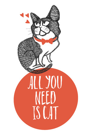 All you need is cat Design card Hand drawing Vetores