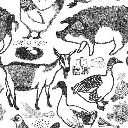 farm hand: Organic fresh farm Hand drawing background Illustration