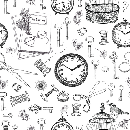 Vintage things Hand drawing background