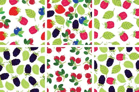 cranberry: Berries backgrounds set Strawberry, raspberry, blackberry, cranberry, blueberry