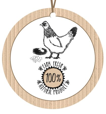 paper old: Cardboard label Chicken Farm Fresh Natural product Healthy lifestyle Illustration