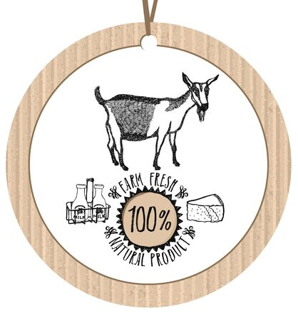 goat cheese: Cardboard label Goat Farm Fresh Natural product Healthy lifestyle