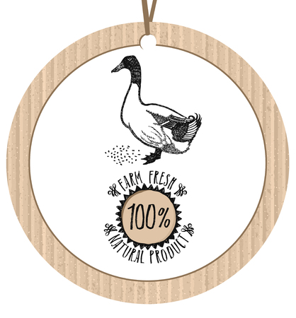 paperboard packaging: Cardboard label Duck Farm Fresh Natural product Healthy lifestyle