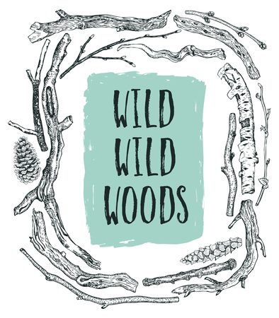 pine boughs: Frame of Driftwood Wild wild woods Illustration