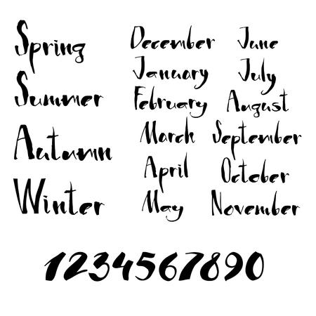 Handgeschreven kalligrafie seizoenen, maanden en getallen Set