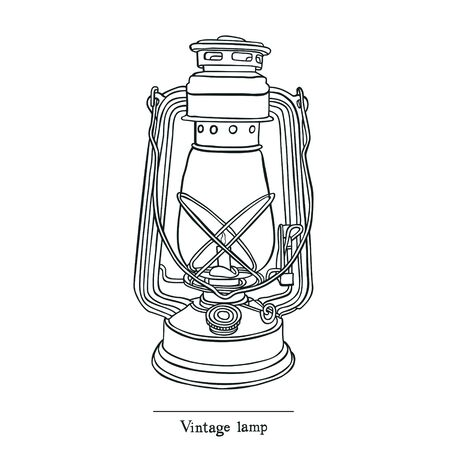 lamp vector: Vintage Candle lamp Line style Vector object