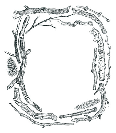 bough: Frame of Driftwood Sketch style Hand drawing set Illustration