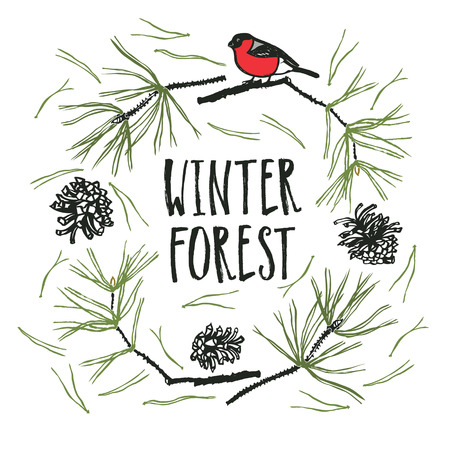 Winter Forest Design card with Pine and Bullfinch bird