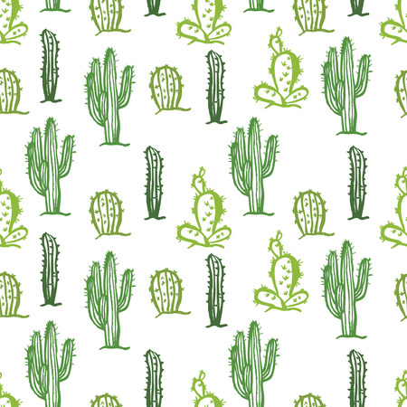 Cactus seamless Color background Vector