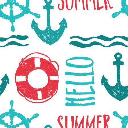 sea transport: Hello summer Relax backround Brush drawing Illustration