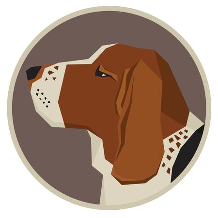 style geometric: Dog collection Basset Hound Modern Geometric style icon round Illustration