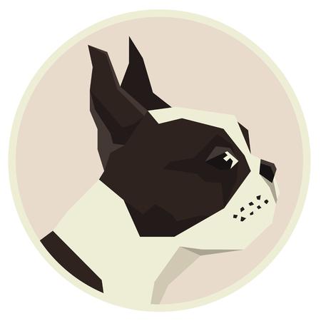 Dog collection Boston Terrier Modern Geometric style icon round