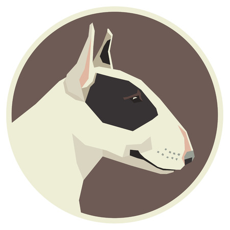 triangular eyes: Dog collection Bull Terrier Modern Geometric style icon round Illustration