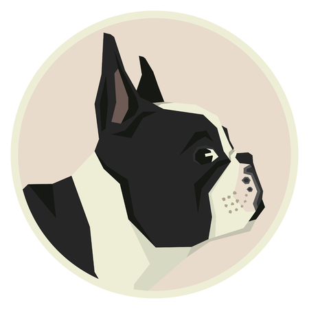 Dog collection set French Bulldog Geometric style icon round