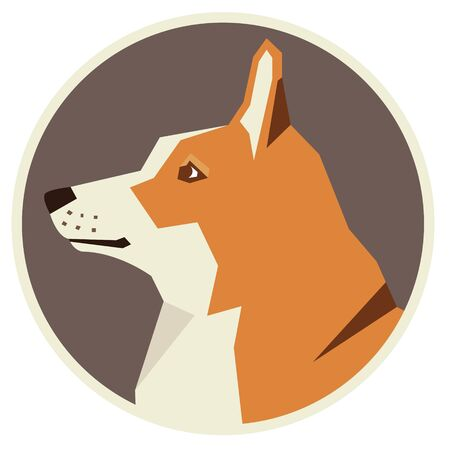 pembroke welsh corgi: Dog collection Pembroke Welsh Corgi Modern Geometric style icon round Illustration