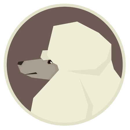 triangular eyes: Dog collection Poodle Modern Geometric style icon round