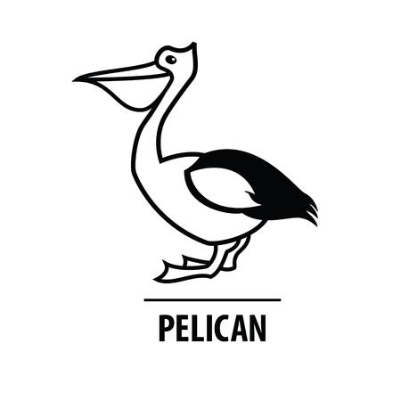 Vector line design icon. Line silhouette bird. Modern Logo design Pelican Illustration