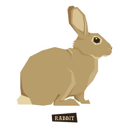 style geometric: Wild animals collection Rabbit Geometric style set