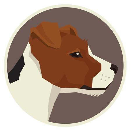 Dog collection Jack Russell terrier Geometric style icon round set